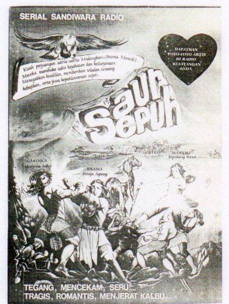 Contoh lain dari poster promosi sandiwara radio Saur Sepuh dimasa lalu